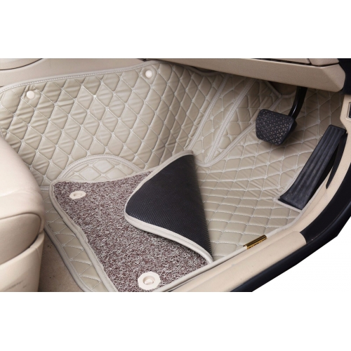 Audi A4 Premium Diamond Pattern 7D Car Floor Mats (Set of 3, Black and Beige)
