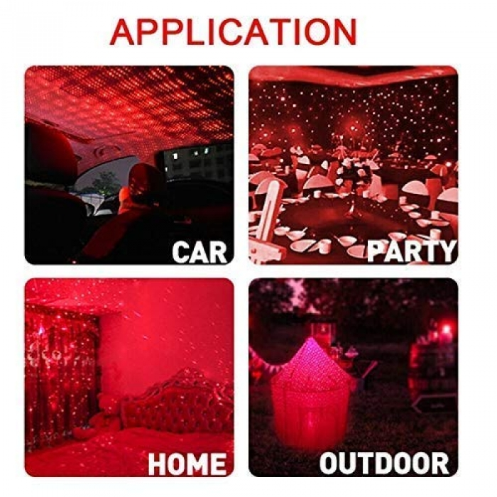 Wireless Car USB Projector Ambient Star Light for Ceiling Atmosphere Lighting Effect