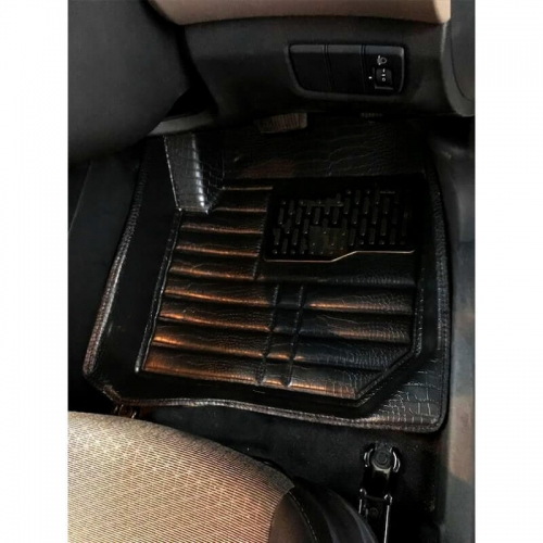 Toyota Innova Premium 5D Car Floor Mats (Set of 4, Black and Beige)