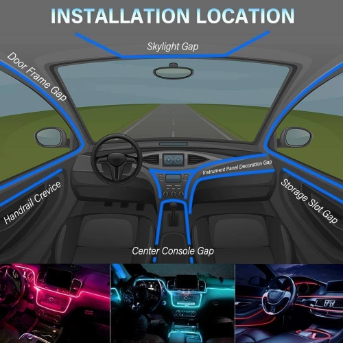 5LED 6M Multi Color RGB App LED Car Atmosphere Interior Light With Optic Fibre Cable, Bluetooth App Control For All Cars