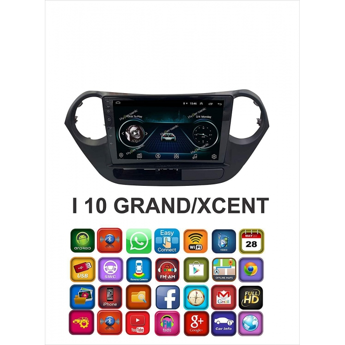 Hyundai Grand i10/Xcent HD 9 Inches Touch Screen Android Stereo (2GB, 16GB) with Stereo Frame By Hypersonic