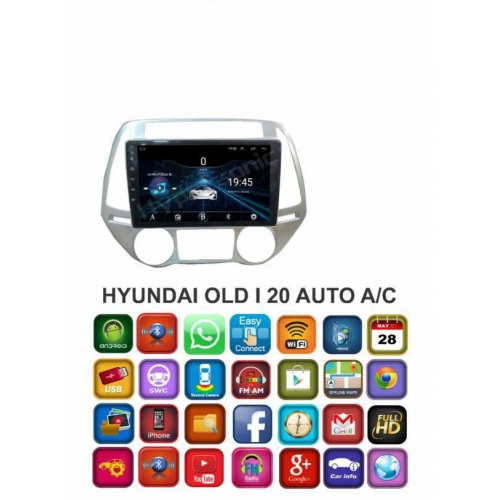Hyundai  OLD  i20 Auto A/C 9 Inches HD Touch Screen Smart Android Stereo (2GB, 16GB) with Stereo Frame By Carhatke