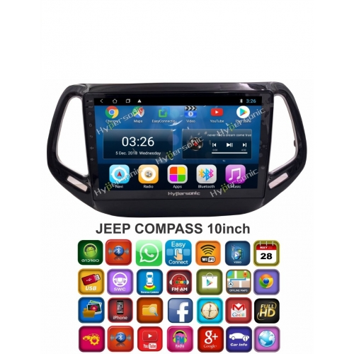 Jeep Compass 10 Inches HD Touch Screen Smart Android Stereo (2GB, 16GB) with Stereo Frame By Carhatke
