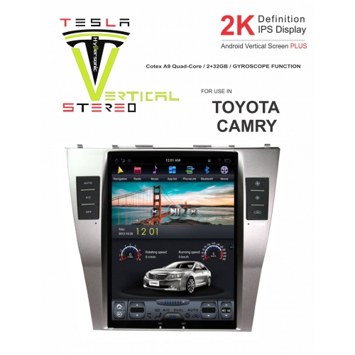 Toyota Camry 2K Android Vertical Touch Screen Plus Tesla Style Vertical Android Stereo (2GB, 32GB) with Stereo Frame By Carhatke