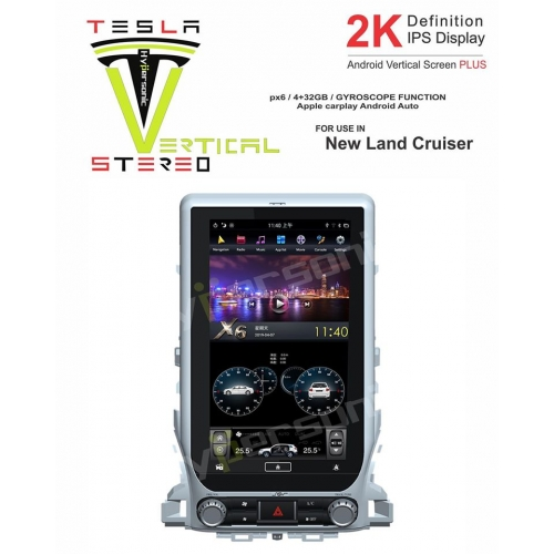 Toyota New Land Cruiser 2K Android Vertical Touch Screen Plus Tesla Style Vertical Android Stereo (4GB, 32GB) with Stereo Frame By Carhatke