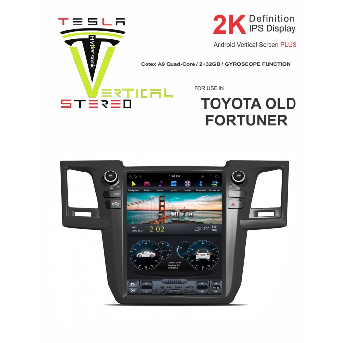 Toyota Old Fortuner 2K Android Vertical Touch Screen Plus Tesla Style Vertical Android Stereo (2GB, 32GB) with Stereo Frame By Carhatke