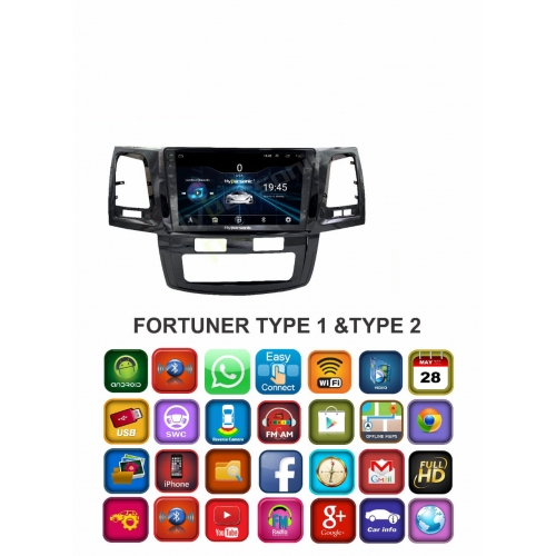 Toyota Fortuner Type 1/Type 2 10 Inches HD Touch Screen Android Stereo (2GB, 16GB) with Stereo Frame By Carhatke