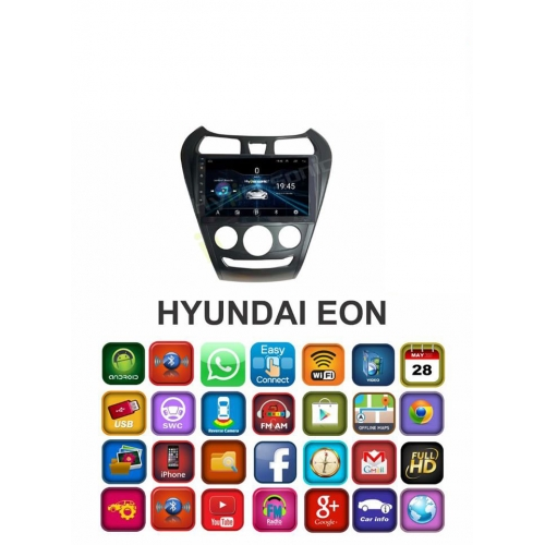 Hyundai Eon HD Touch Smart Screen Android Stereo (2GB, 16GB) with Stereo Frame By Carhatke