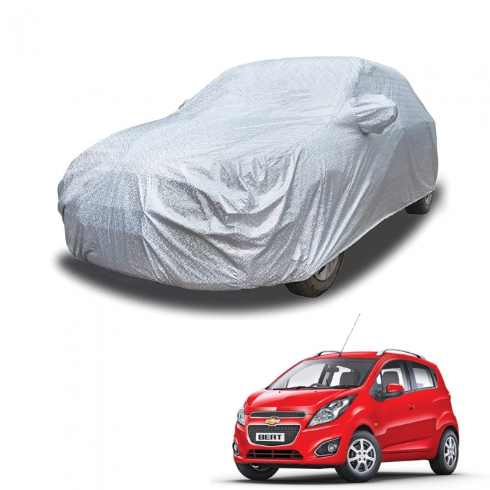 Carhatke Spyro Silver 100% Waterproof Car Body Cover with Mirror Pocket for Chevrolet Beat