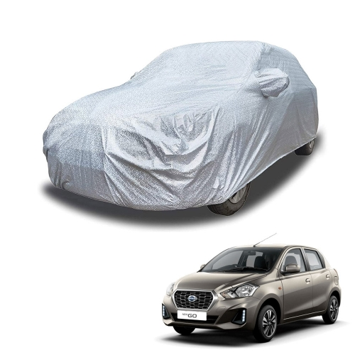 Carhatke Spyro Silver 100% Waterproof Car Body Cover with Mirror Pocket for Datsun Go