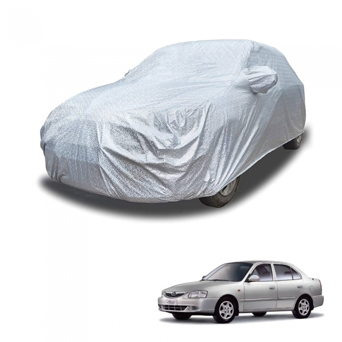 Carhatke Spyro Silver 100% Waterproof Car Body Cover with Mirror Pocket for Hyundai Accent