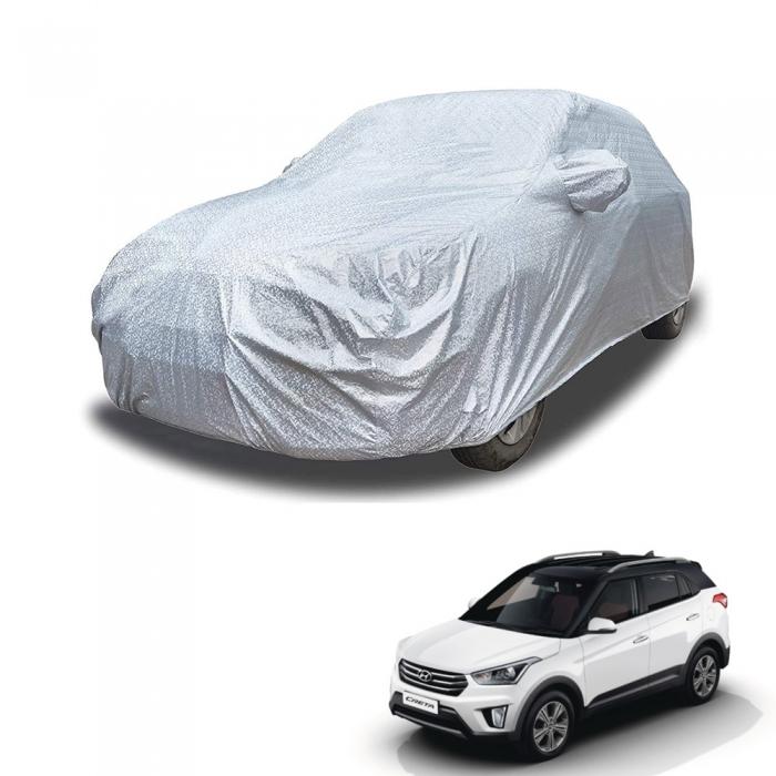Carhatke Spyro Silver 100% Waterproof Car Body Cover with Mirror Pocket for Hyundai Creta