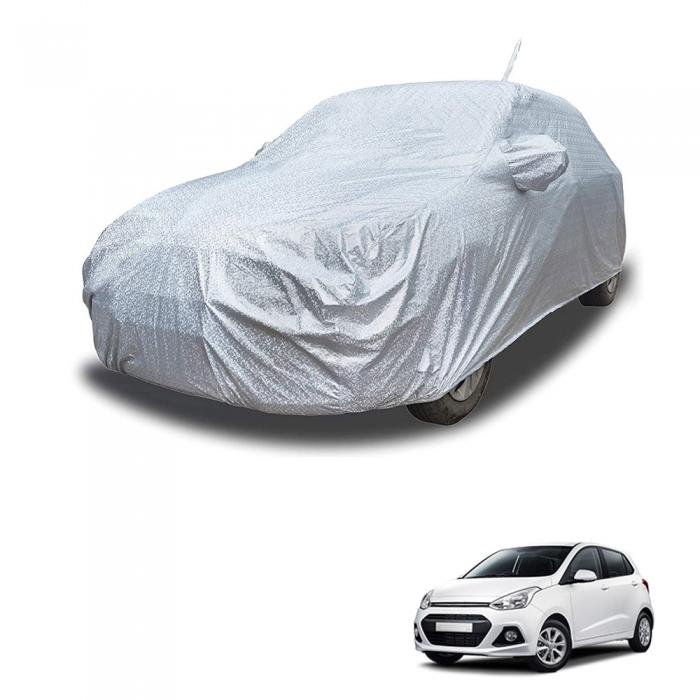 Carhatke Spyro Silver 100% Waterproof Car Body Cover with Mirror Pocket for Hyundai i10