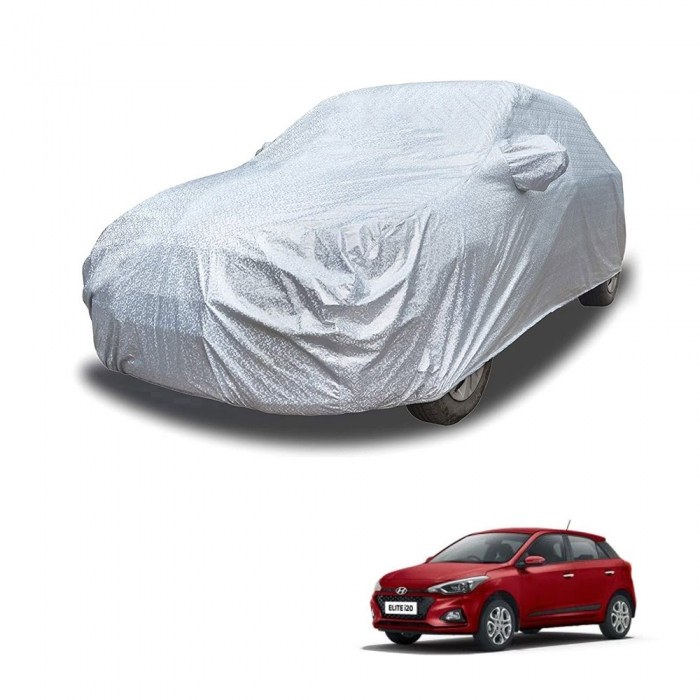Carhatke Spyro Silver 100% Waterproof Car Body Cover with Mirror Pocket for Hyundai i20