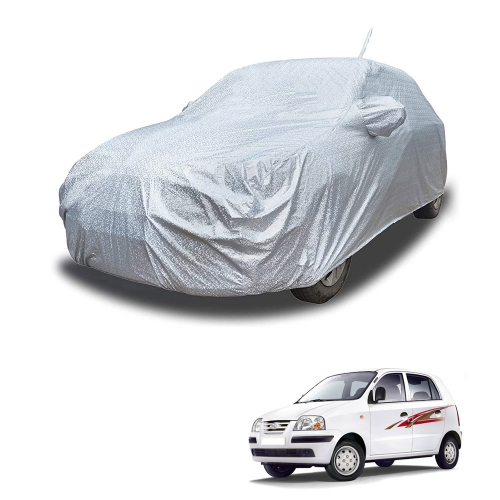 Carhatke Spyro Silver 100% Waterproof Car Body Cover with Mirror Pocket for Hyundai Old Santro
