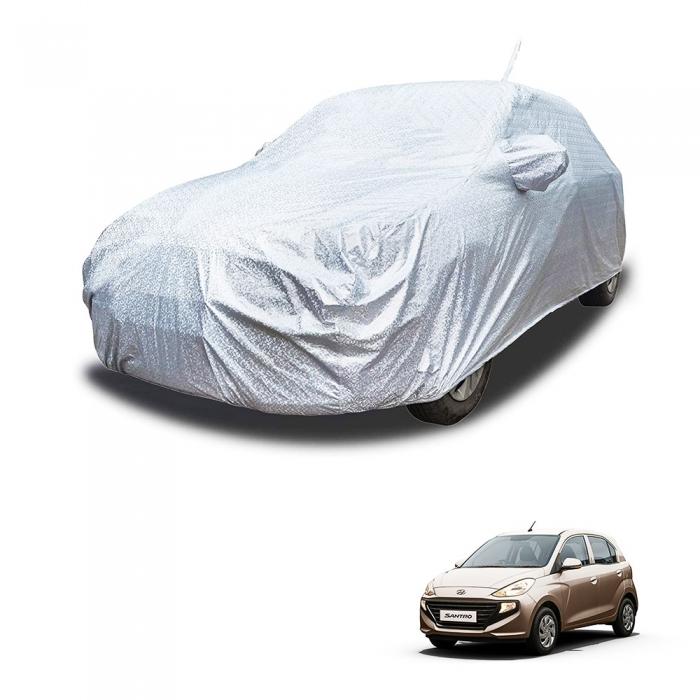 Carhatke Spyro Silver 100% Waterproof Car Body Cover with Mirror and Antenna Pocket for Hyundai Santro