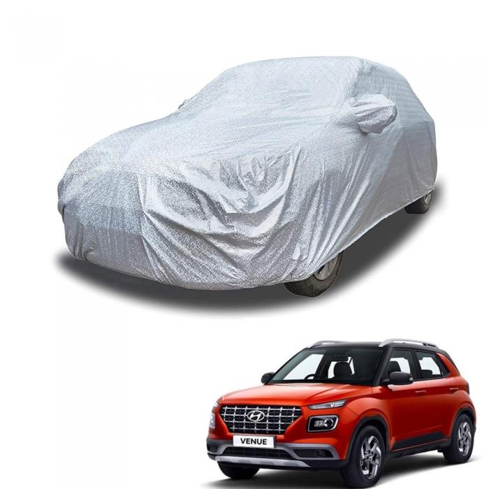 Carhatke Spyro Silver 100% Waterproof Car Body Cover with Mirror Pocket for Hyundai Venue