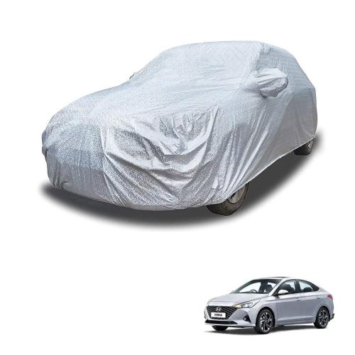 Carhatke Spyro Silver 100% Waterproof Car Body Cover with Mirror Pocket for Hyundai Verna Fluidic