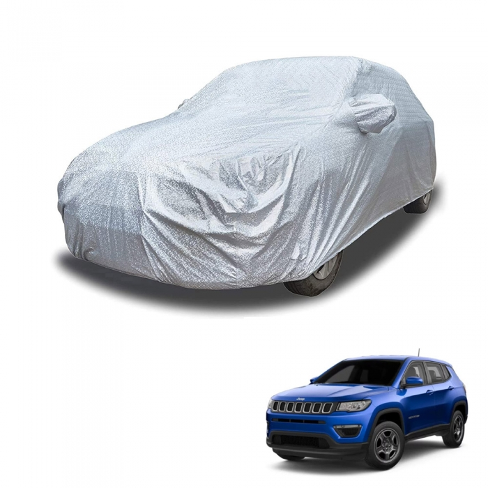 Carhatke Spyro Silver 100% Waterproof Car Body Cover with Mirror Pocket for Jeep Compass