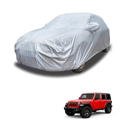 Carhatke Spyro Silver 100% Waterproof Car Body Cover with Mirror Pocket for Jeep Wrangler