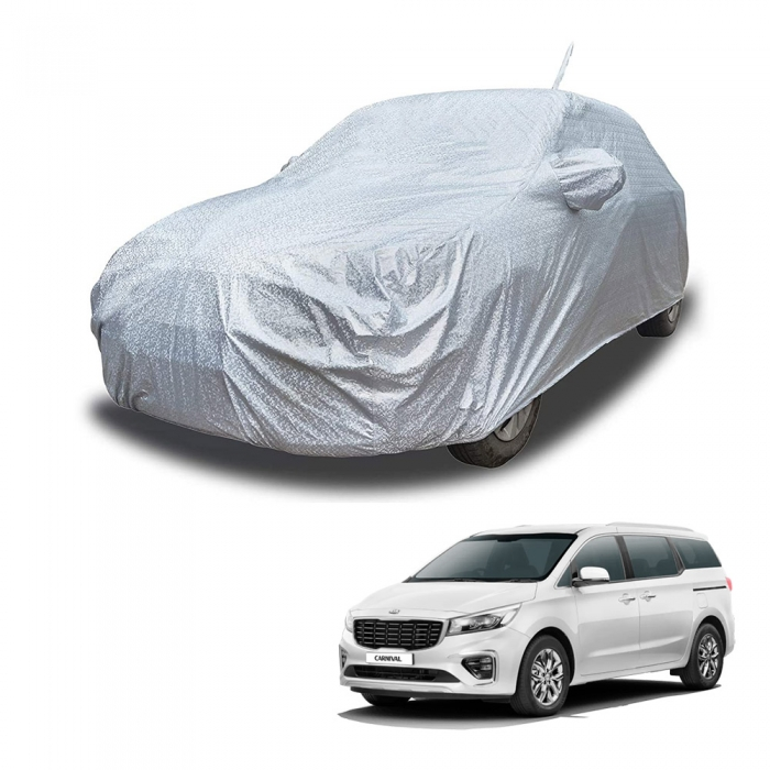 Carhatke Spyro Silver 100% Waterproof Car Body Cover with Mirror and Antenna Pocket for Kia Carnival