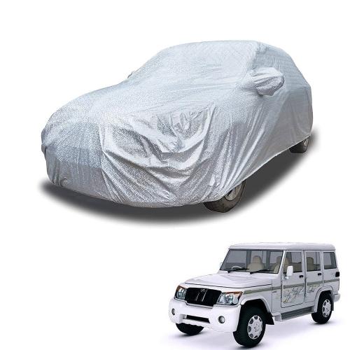 Carhatke Spyro Silver 100% Waterproof Car Body Cover with Mirror Pocket for Mahindra Bolero  XL