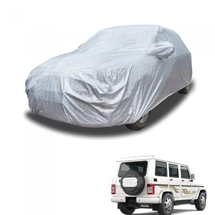 Carhatke Spyro Silver 100% Waterproof Car Body Cover with Mirror Pocket for Mahindra Bolero