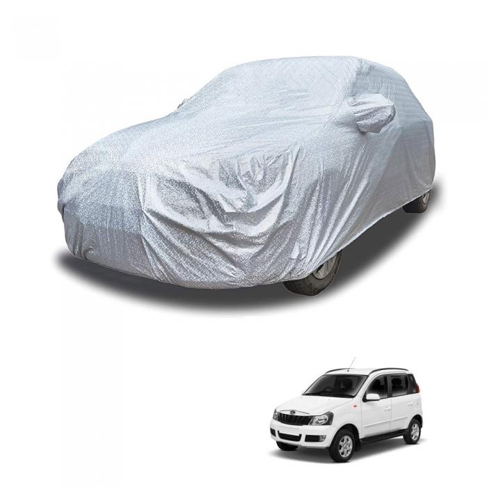 Carhatke Spyro Silver 100% Waterproof Car Body Cover with Mirror Pocket for Mahindra Quanto