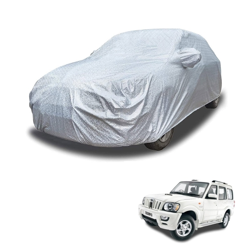 Carhatke Spyro Silver 100% Waterproof Car Body Cover with Mirror Pocket for Mahindra Scorpio