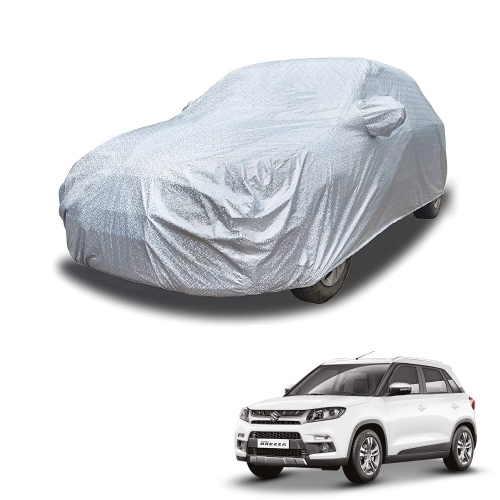 Carhatke Spyro Silver 100% Waterproof Car Body Cover with Mirror Pocket for Maruti Brezza