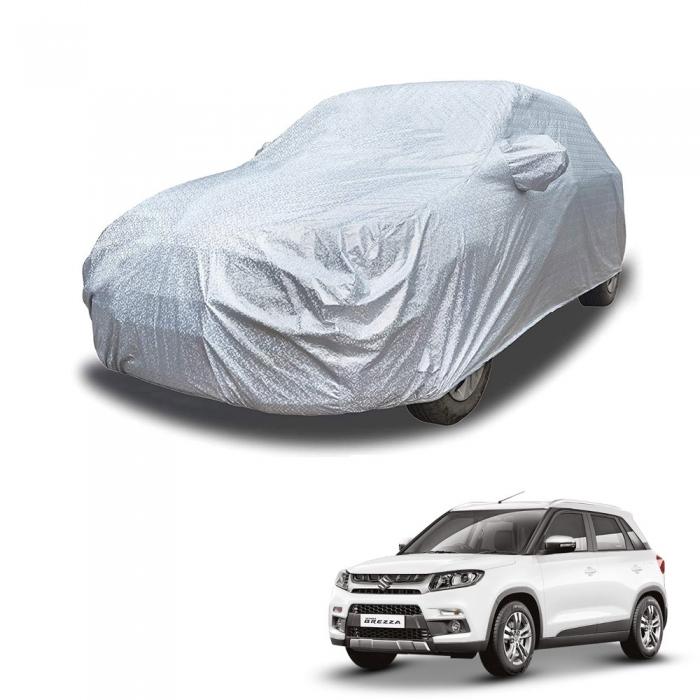 Carhatke Spyro Silver 100% Waterproof Car Body Cover with Mirror Pocket for Maruti Brezza