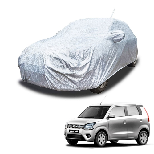 Carhatke Spyro Silver 100% Waterproof Car Body Cover with Mirror and Antenna Pocket for Maruti Wagon R 2019
