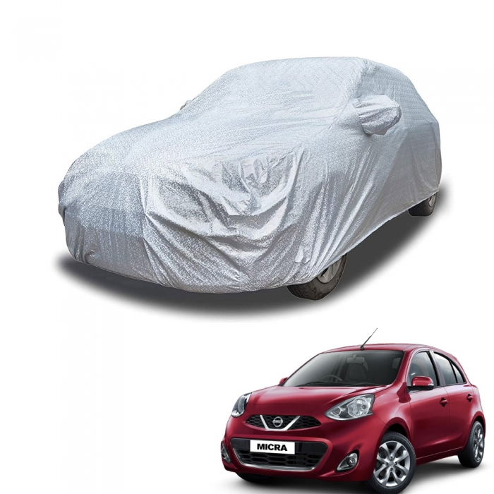 Carhatke Spyro Silver 100% Waterproof Car Body Cover with Mirror Pocket for Nissan Micra