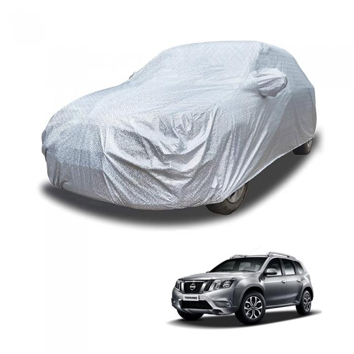 Carhatke Spyro Silver 100% Waterproof Car Body Cover with Mirror Pocket for Nissan Terrano