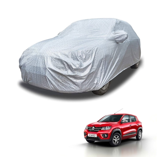 Carhatke Spyro Silver 100% Waterproof Car Body Cover with Mirror Pocket for Renault KWID