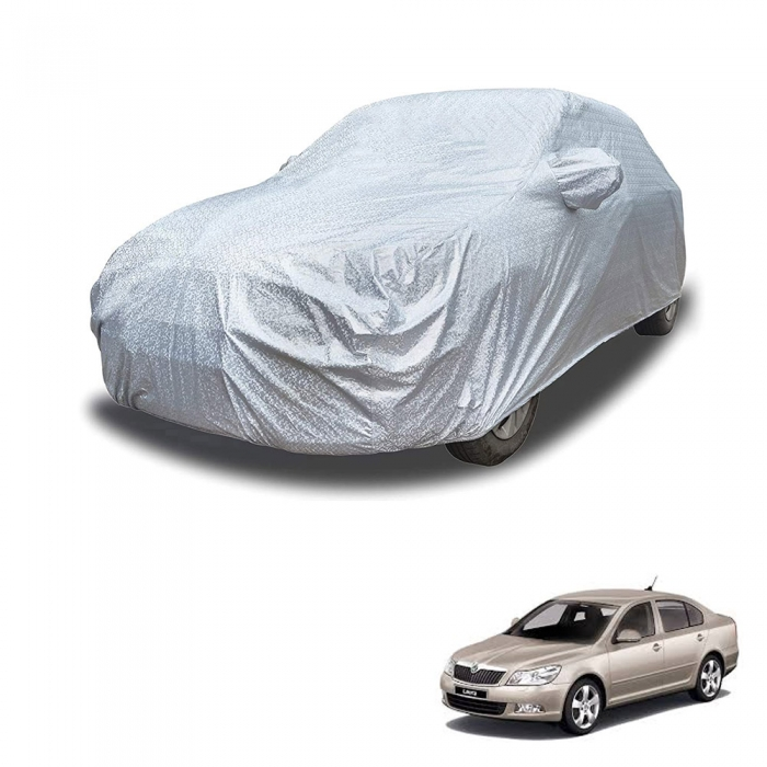 Carhatke Spyro Silver 100% Waterproof Car Body Cover with Mirror Pocket for Skoda Laura