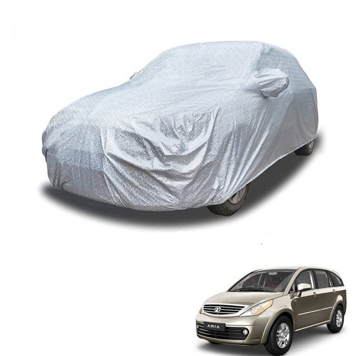 Carhatke Spyro Silver 100% Waterproof Car Body Cover with Mirror Pocket for Tata Aria