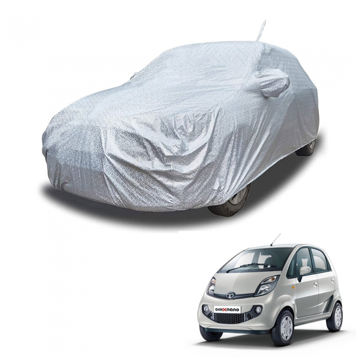 Carhatke Spyro Silver 100% Waterproof Car Body Cover with Mirror Pocket for Tata Nano