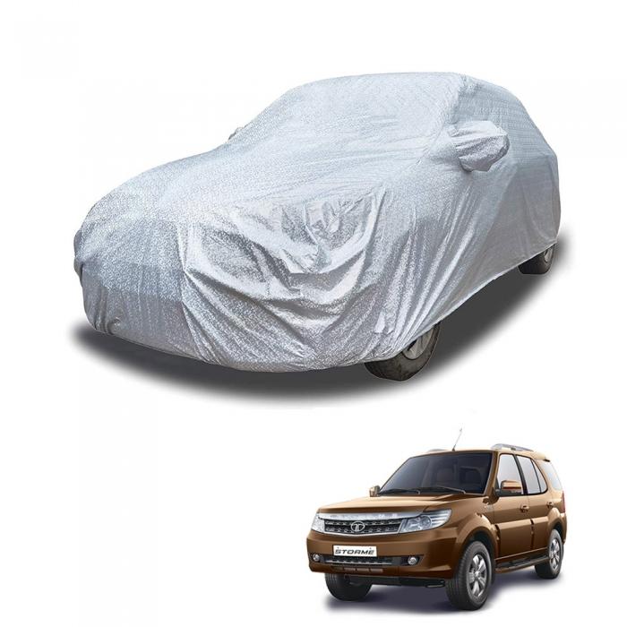 Carhatke Spyro Silver 100% Waterproof Car Body Cover with Mirror Pocket for Tata Safari
