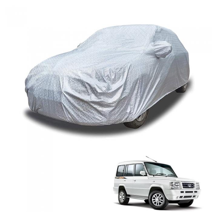 Carhatke Spyro Silver 100% Waterproof Car Body Cover with Mirror Pocket for Tata Sumo
