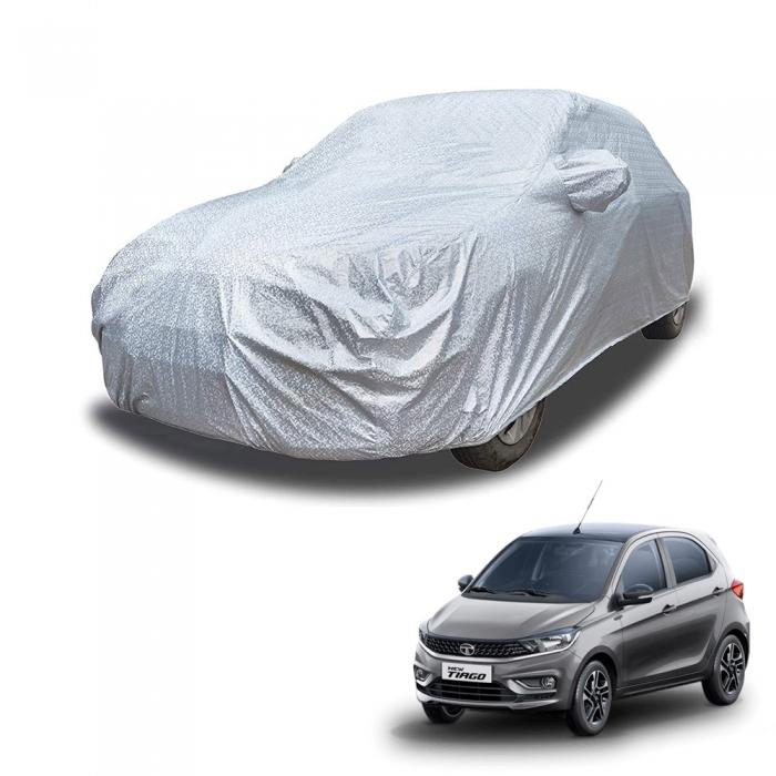 Carhatke Spyro Silver 100% Waterproof Car Body Cover with Mirror Pocket for Tata Tiago