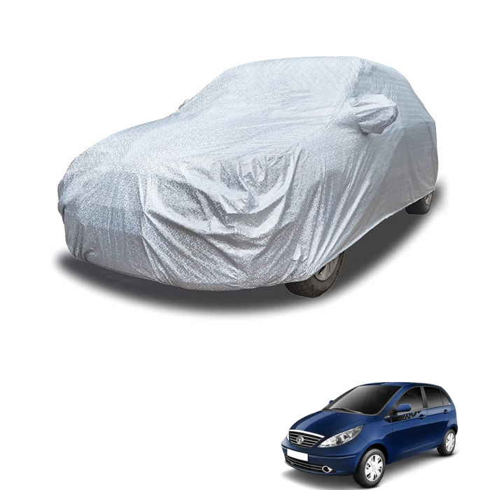 Carhatke Spyro Silver 100% Waterproof Car Body Cover with Mirror Pocket for Tata Vista