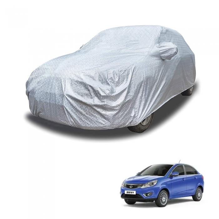 Carhatke Spyro Silver 100% Waterproof Car Body Cover with Mirror Pocket for Tata Zest