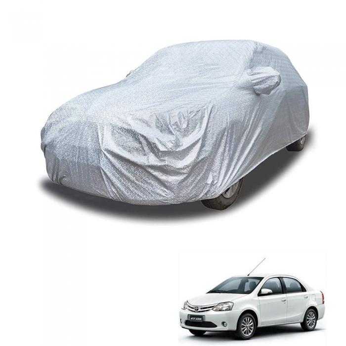 Carhatke Spyro Silver 100% Waterproof Car Body Cover with Mirror Pocket for Toyota Platinum Etios