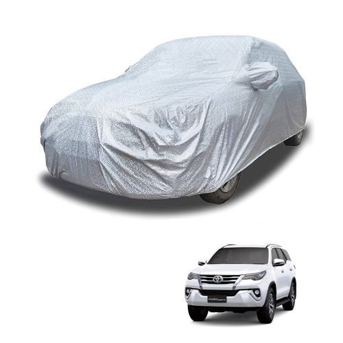 Carhatke Spyro Silver 100% Waterproof Car Body Cover with Mirror Pocket for Toyota Fortuner