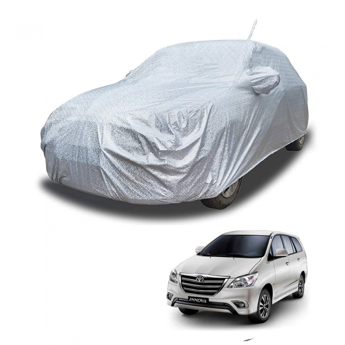 Carhatke Spyro Silver 100% Waterproof Car Body Cover with Mirror and Antenna Pocket for Toyota Old Innova