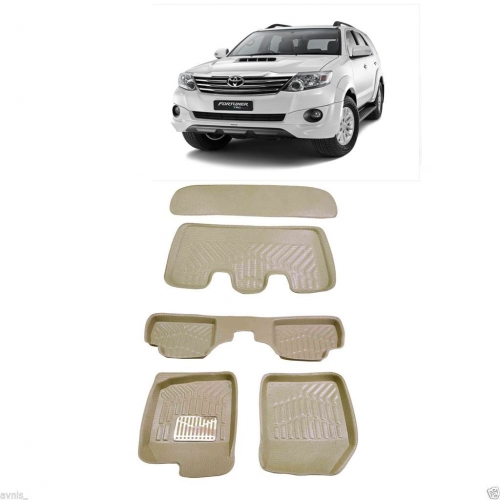 Leathride Texured 3D Car Floor Mats For Totota Fortuner Old With Boot Mat