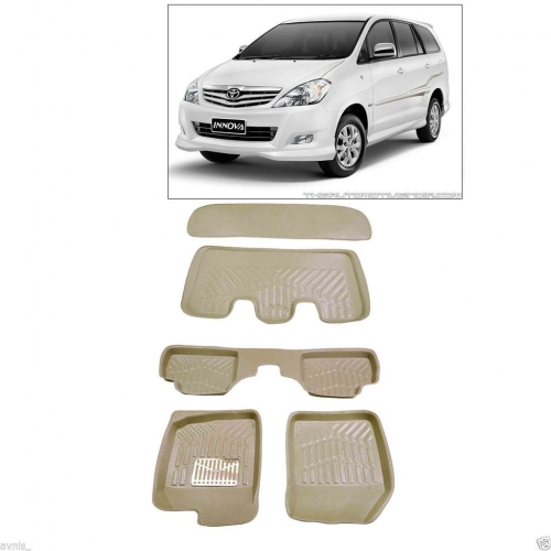 Leathride Texured 3D Car Floor Mats For Toyota Innova With Boot Mat