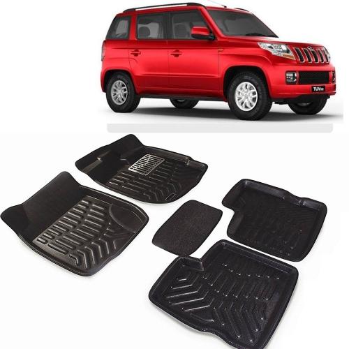 Premuim Quality 3D Car Floor Mats For Mahindra TUV 300 (Black & Beige)