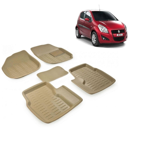 Premuim Quality 3D Car Floor Mats For Maruti Suzuki Ritz (Beige & Black)